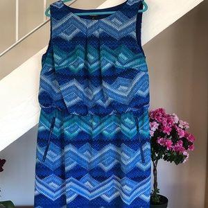 NWOT. Plus size dress. Lovely blue zigzag print.
